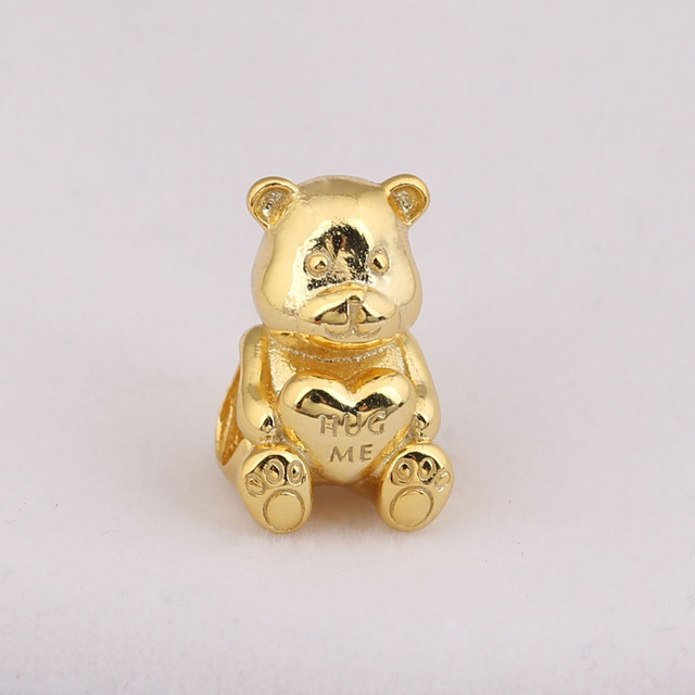 e9c194e0ca029 US $9.63  2018 Mother Day 925 Sterling Silver Bead Gold Shine Theodore Bear  Charm Fit Original Women Pandora Bracelet Bangle DIY Jewelry-in Beads from  ...