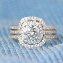 1.1 Carat Cushion Cut Halo Anniversary Engagement Wedding Set Test Positive Lab Grown Diamond Ring Genuine 14k White Gold Gift