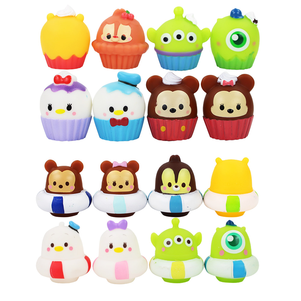 8pcs/lot Mickey Figures Toy Minnie Daisy Donald Duck Bears Toy Story Alien Cartoon daisy Squeeze Toys Swimming Baby Dolls Gifts(China)