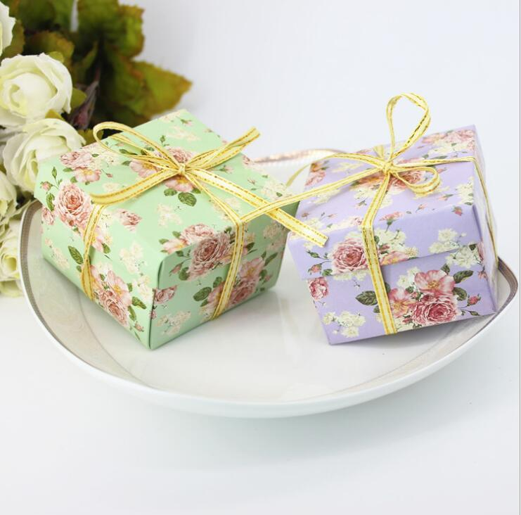 Candy Box Bag Chocolate Paper Gift Box Flower Green Purple For