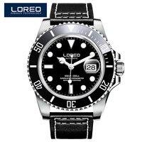 Loreo 브랜드 럭셔리 다이빙 200 m 기계식 시계 캐주얼 회전 세라믹 베젤 사파이어 갈매기 무브먼트 자동 시계 남자