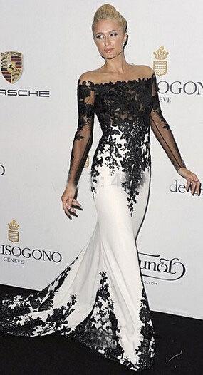 Novo 2017 Feitos Sob Medida Met Gala Paris Hilton Preto e Branco Do Laço Apliques de Cetim Sereia Longa Celebridade Vestido de Noite ZY035