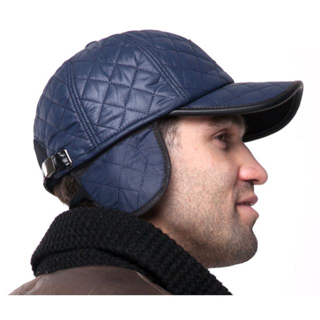 Borda masculino chapéu tampão do inverno de couro de algodão grosso para o inverno e protetores de ouvido de couro falso outono nova marca bonés de beisebol térmica