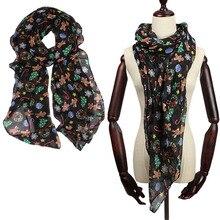 Novelty  Cute Christmas bear pattern print Bali yarn scarf warm children's long scarf winter spring and autumn unisex wild scarf fashionable floral pattern yarn scarf muffler cappa deep pink