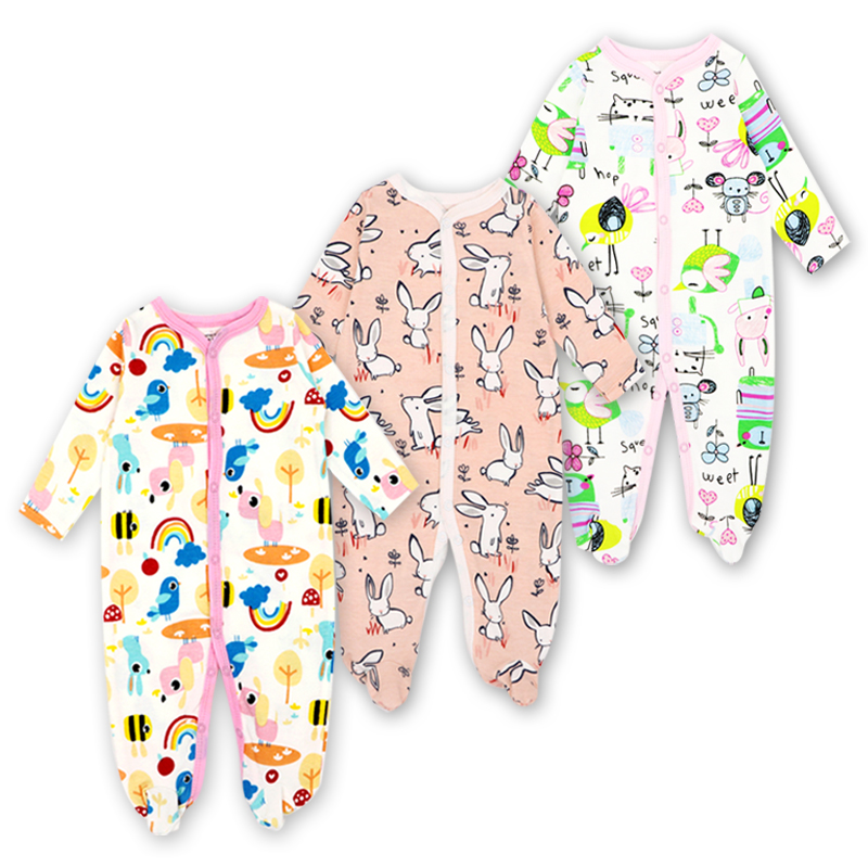 Baby Romper Newborn Boys Girls Babies Clothes 3 Pack Long Sleeve 100%cotton Cute Print New born Infant Autumn Winter Clothing girls eyes print romper