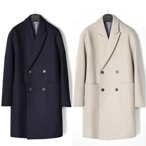 Image 3 - 2019 neue Männer Windjacke Herren Graben Mantel Männer Mantel Lässig Jacke Mode Marke Kleidung männer Wolle Graben Mantel Lange für männer