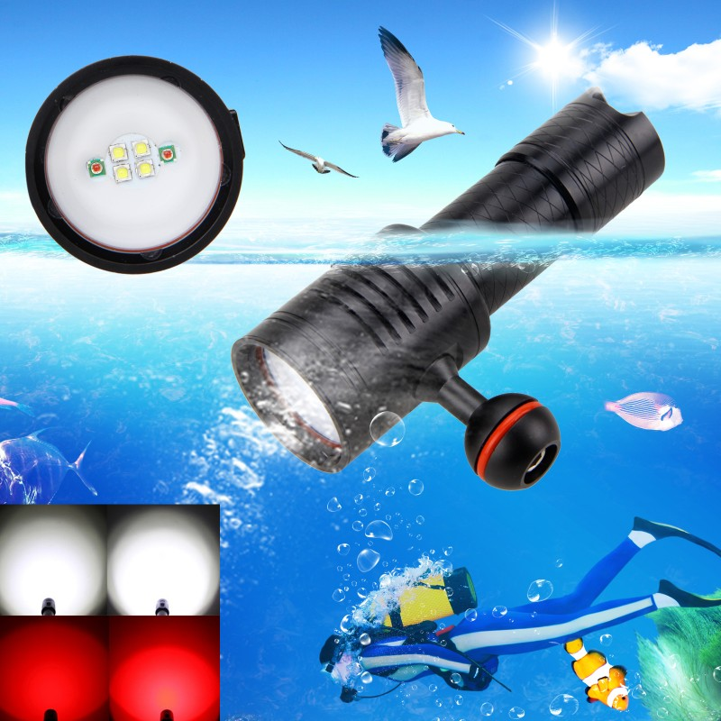 1000 Lumen 6x White+Red LED Diving Flashlight Torch Underwater 100M Video Camera Photography Lamp With 18650/26650 Battery