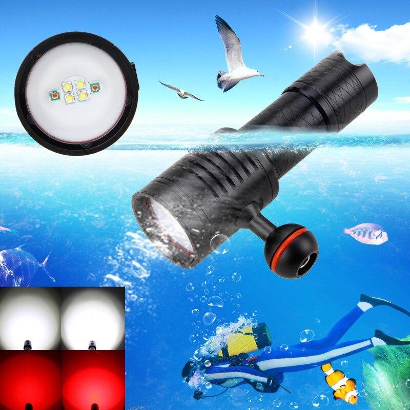 1000 Lumen 6x blanc + rouge LED lampe de poche de plongée torche sous-marine 100 M caméra vidéo lampe de photographie avec batterie 18650/26650