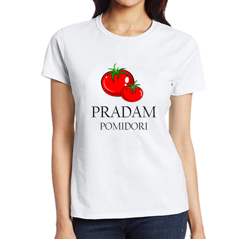 Pradam Pomidori T-shirt Women Plus Size Funny Tomatoes Shirt Tumblr Graphic Russian T-Shirt Female Summer Tees T-R7107
