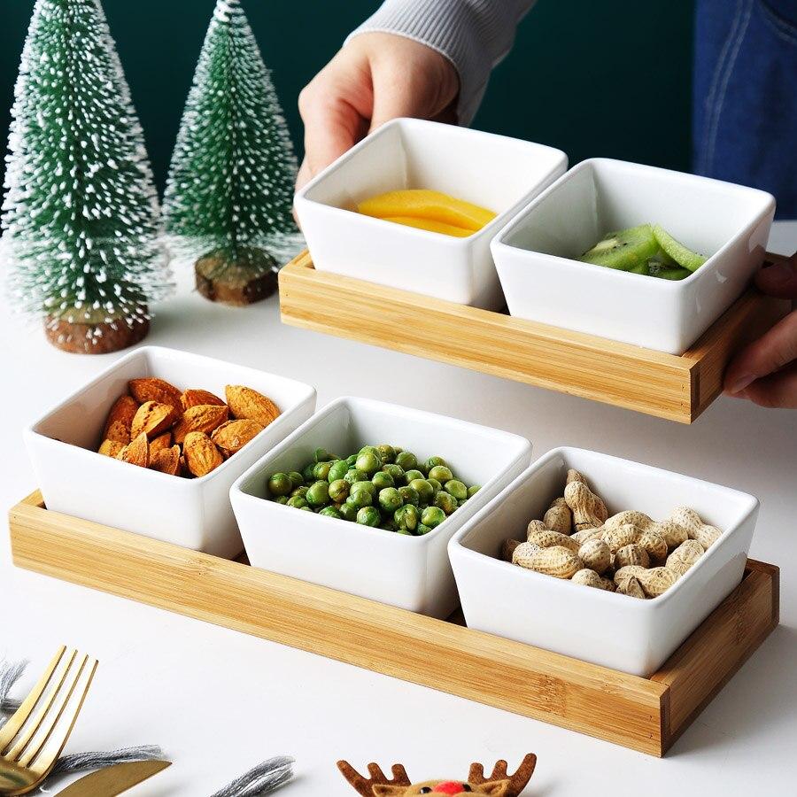 Plato de cerámica para postres MUZITY plato de fruta de forma cuadrada con bambú y bandeja de madera plato de porcelana pastel o plato de caramelo