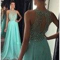 Turquesa vestido de fiesta Una Línea de Gasa de Baile Vestidos O Cuello de Longitud de Espalda Abierta vestido formatura longo Por Encargo 2016