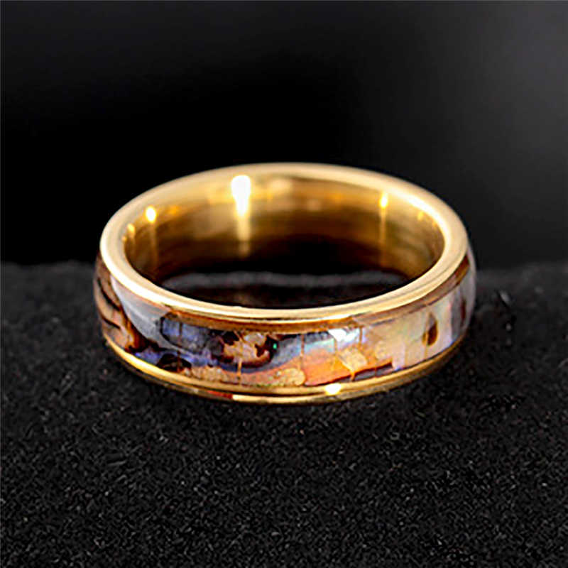 Fashion Shell Finger Rings Silver/Gold Stainless Steel Rings for Women Wedding Band Lovers Jewelry Couple's Ring Size 6-12 bague