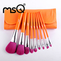 MSQ 9pcs Travel Makeup Brushes Set Soft Synthetic Hair Orange Wood Handle With PU Leather Case For Fashion Beauty Wholesale