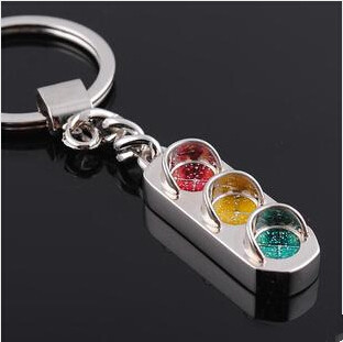 KC-051 2014 New Arrive Christmas Gift Gem Personality Traffic Lights Key Chain Metallic Leather Keychain Free Shipping