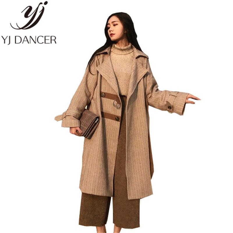 Hiver Harajuku 2018 Brown La Lâche Casual Femelle Section Plus Ljj0053 De vent Longue Femmes Taille Coupe Nouvelle Mode Laine Manteau qBdzHwB