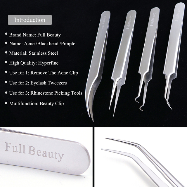 1pc Stainless Steel Blackhead Tweezers Eyelash Extension Curved Acne Clip Removal Eyebrow Tweezer Face Care Tools CHFBNC01-04 2