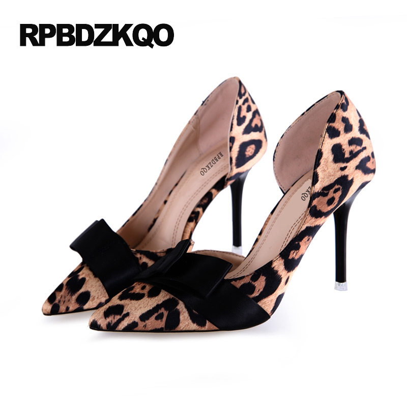 D'orsay High Heels Leopard Suede Sexy Pointed Toe 2017 Pumps Women Small Size Stiletto Bow Prom Shoes 4 34 Yellow Adult Ceremony small size high heels sexy pumps 33 4 34 thin abnormal 2017 big 12 44 multi colored leopard shoes women pointed toe evening