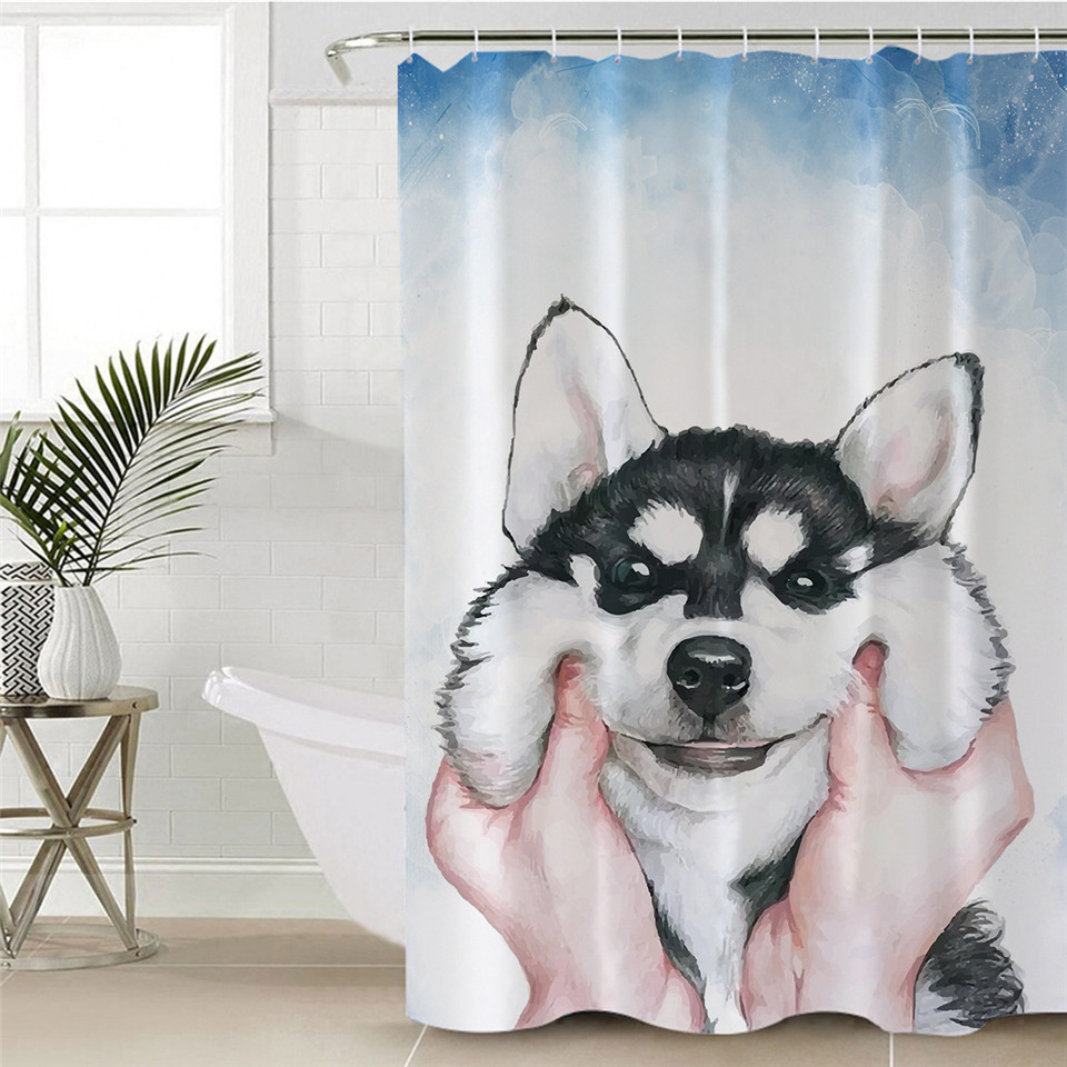 Beddingoutlet Husky Puppy Shower Curtain Watercolor Dog Polyester