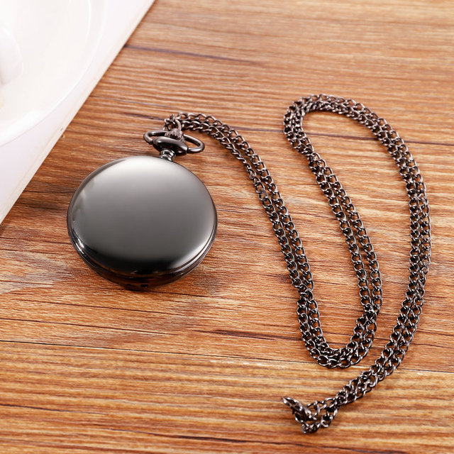 Classic Black Smooth Steampunk Pocket Watch Men With Fob Nacklace Chain Fashion