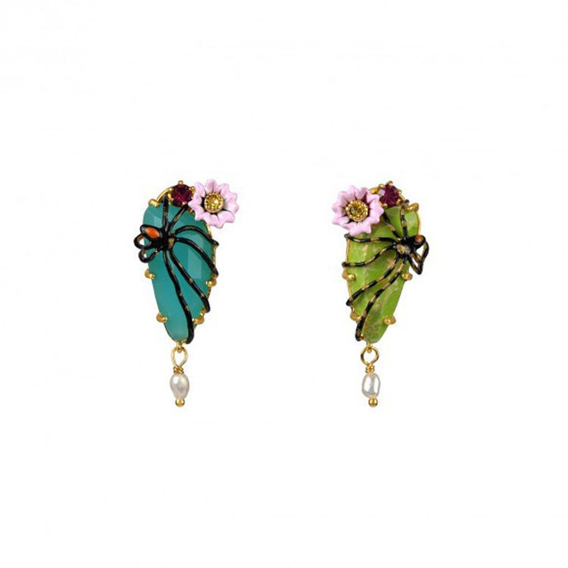 Romantic Fashion Ornaments Enamel Glaze Eardrop Ear Nail Spider Two-tone Jewel Earring European Wind