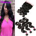 360 Lace Frontal Closure With Bundles Human Hair Bundles Frontal Brazilian Body Wave With Closure 3 Bundles With Frontal Closure