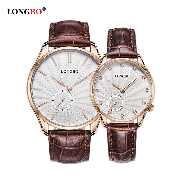 Amantes LONGBO Reloj de Cuarzo Relojes Mujeres de Los Hombres Pareja Relojes Casaual Moda Casual Relojes Relogio Reloj de Pulsera de Cuero