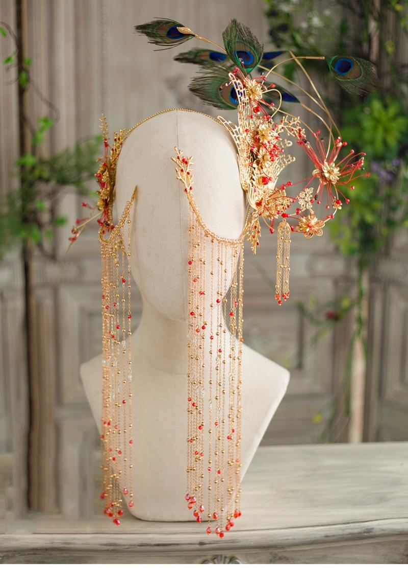 HIMSTORY magnifique fait à la main Phoenix Coronet scène chinois Style Vintage accessoires de cheveux paon plume spectacle ange coiffure-in Bijoux pour cheveux from Bijoux et Accessoires    3