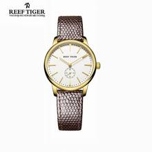 Reef Tiger/RT Yellow Gold Ultra Thin Watches For Women Casual Quartz Couple Watches with Leather Strap RGA820