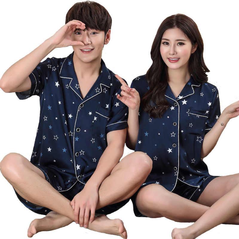 Новая пара, короткий рукав, 2 предмета, одежда для сна, синяя летняя Домашняя одежда, шелковые пижамы, пижамный комплект для влюбленных, нижнее белье Неглиже с принтом