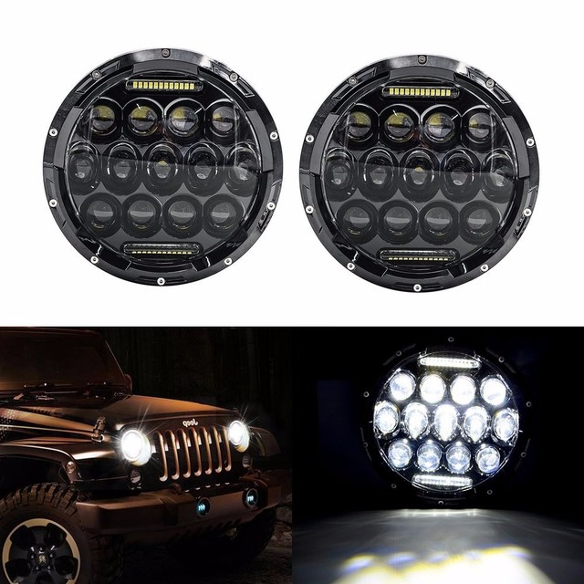 Promotion! 2pcs 7 Inch 75W Hi/ Lo LED Car Headlight DRL 12V 24V Driving head Light for Jeep Wrangler