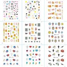 цена на DLS031-060 Fashion Water Foils Nail Art Sticker Cartoon Kiss Lip Harajuku Design Water Decals Manicure Little Element Sticker