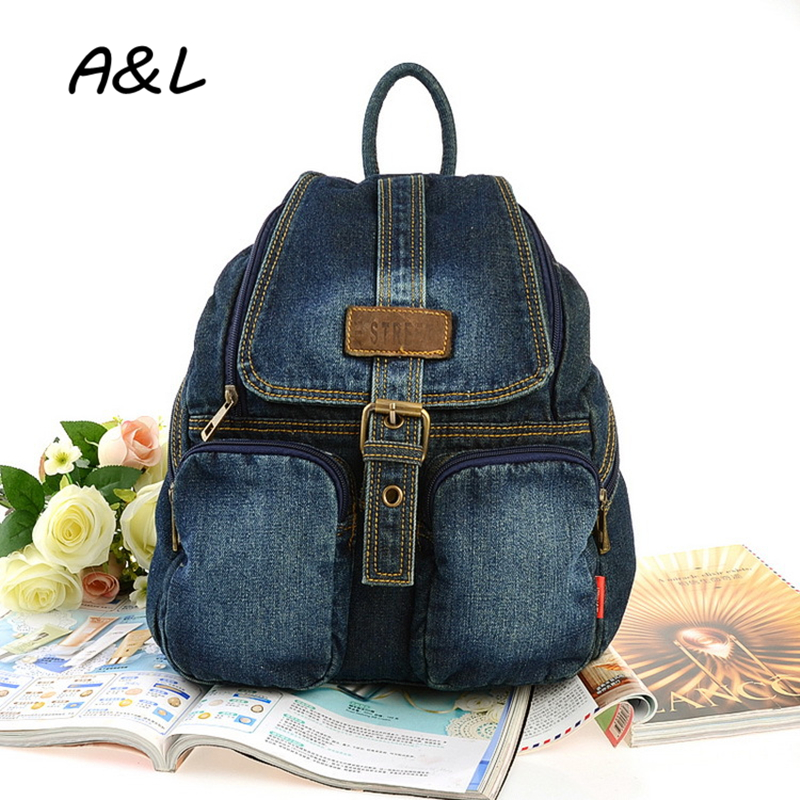 2016 Fashion Casual Women Backpack Denim Backpacks For Teenage Girls Preppy Style Students School Bags Travel Bag Rucksack A0206 primary school students school bag 3 6 candy color preppy style backpack