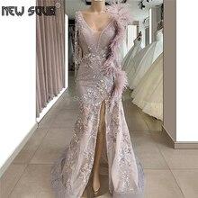 Feather Friesen Split Side Abendkleider Handgemachte 2019 Neue Robe De Soiree Saudi Arabisch Prom Party Kleid Islamischen Aibye Formale