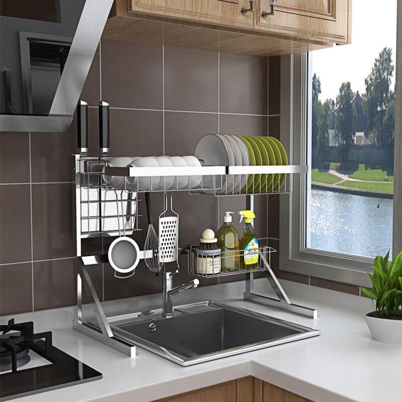 64/84 cm estante de cocina de acero inoxidable en forma de U estante de drenaje de fregadero dos capas estante de cocina suministros de cocina soporte de almacenamiento de 08165-in Estantes y soportes from Hogar y Mascotas    3