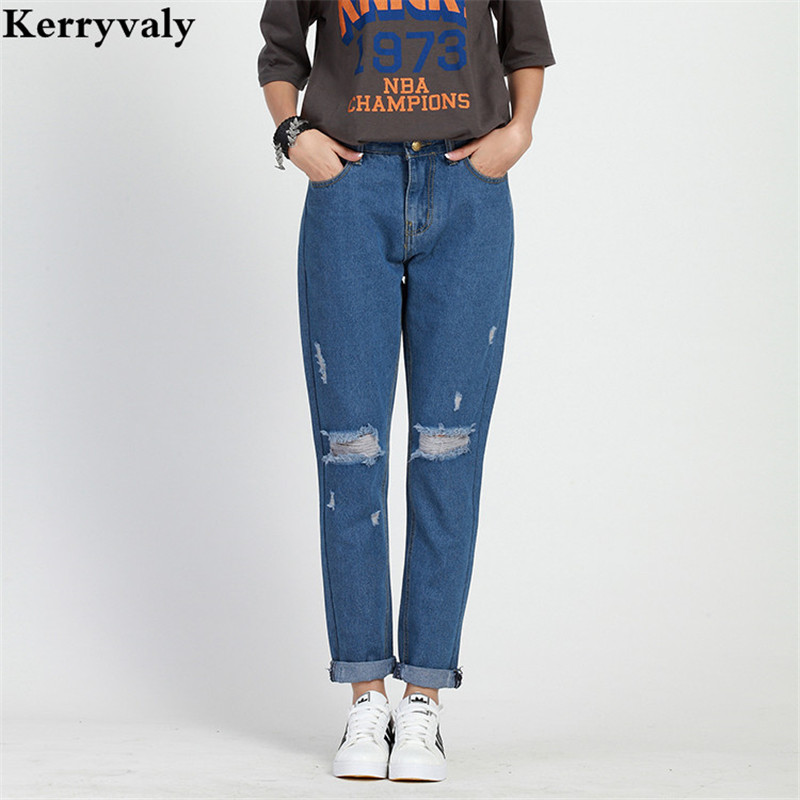 Large Size 5XL Jeans Woman Haren Pants 2017 Women Loose Holes Blue Denim Pants Long Trousers Fringe Jean Boyfriend Femme K2020 high waist jeans women plus size femme stretch slim loose large size jeans pants 2017 casual ankle length haren pants trousers