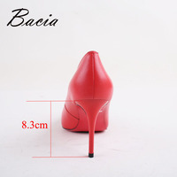 Bacia Women High Heel Shoes Basic Model Pumps Lady Sexy Pointed Toe Wedding Shoes Pink Red Pumps Handmade Sheepskin Shoes VB034 4