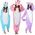 2017 new arrival kengurumi unicórnio animal pijamas onesies para adultos mulheres casal conjuntos de pijama de algodão inverno do Dia Das Bruxas Natal