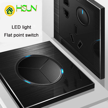 86 type 3 gang 2 way black aluminum alloy panel Switch socket Five hole Europe Industry Switch France Germany UK socket in Switches from Lights Lighting