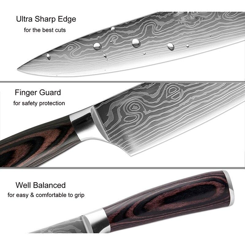 XITUO 5 pièces Cuisine Ensembles de Couteaux En Acier Damas Japonais Motif Couteau Santoku Couteau D'office Trancher Utilitaire Poisson Outil Cadeau - 2