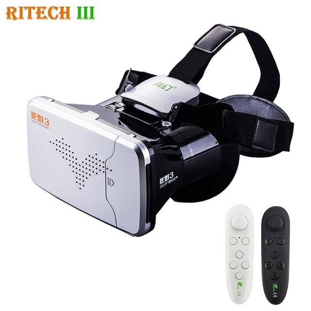 RITECH III VR Виртуальная Реальность 3D Очки Гарнитура Глава Крепление шлем Картона 360 Видео для 4-6 'Мобильный Телефон с vr контроллер