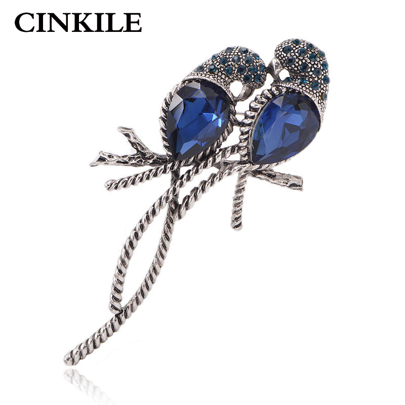 CINKILE Zinc Alloy and Silver Plated for Women Animal Brooches A Pair of Bird Inlay Shiny Big Blue Crystal for Girls Pins