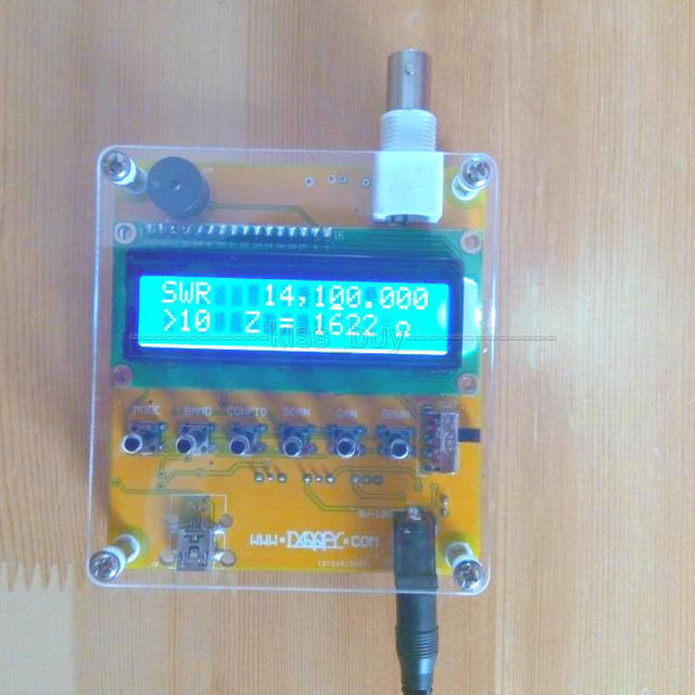 MR100 Shortwave Antenna Analyzer Meter Tester 1-60M For Ham Radio DC 12V Q9 Head