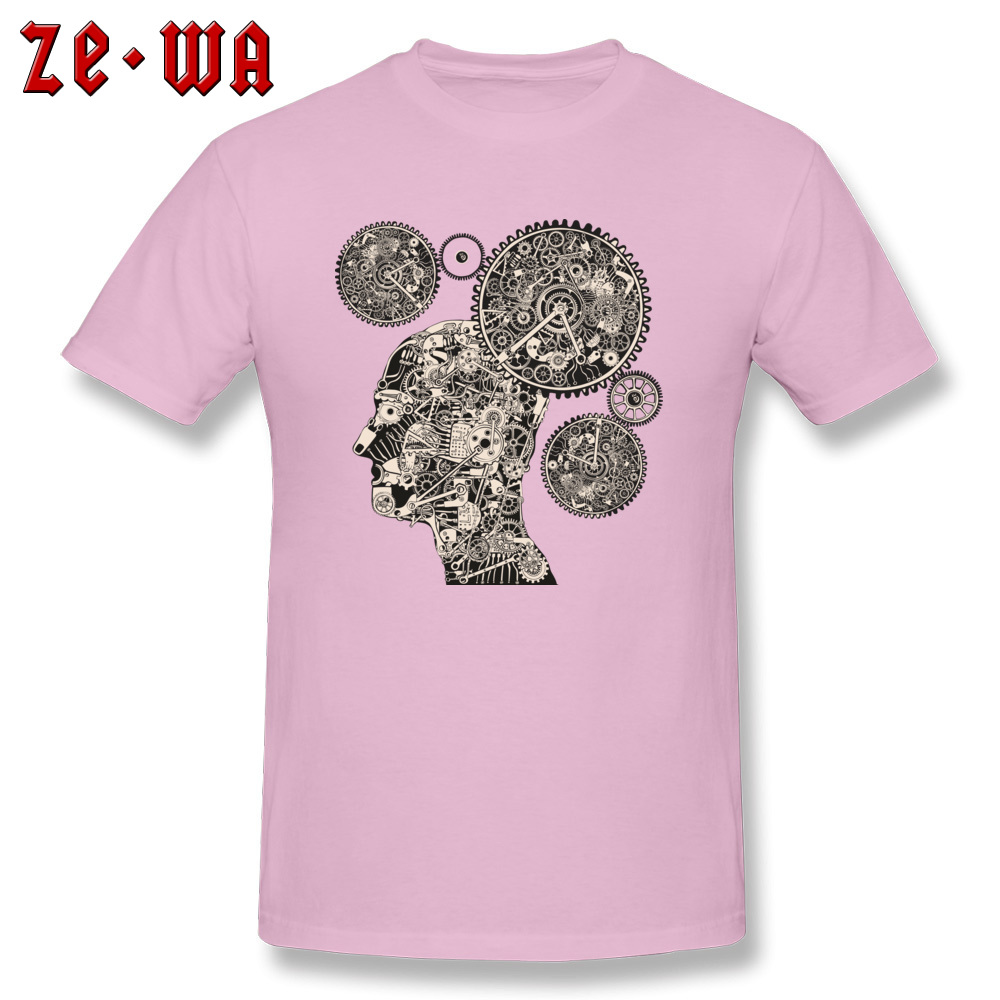 Tops T Shirt T Shirt Clock Machine Gear Mechanism Autumn Short Sleeve 100% Cotton Crew Neck Men Tshirts Slim Fit Graphic Clock Machine Gear Mechanism pink