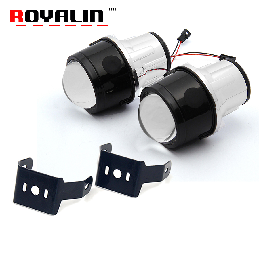 ROYALIN Fog Lens HID H11 Bi-Xenon Projector Lens 2.5 inch Metal Bifocal Driving for Universal Car Styling Fog Light Waterproof fog light lens for toyota 2 5 full metal bi xenon projector lens with xenon kit auto h11 fog light