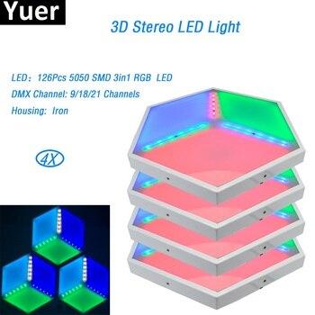 4 ชิ้น/ล็อต LED 3D Vision แผง ADJ การออกแบบที่ไม่ซ้ำกัน 126 Pcs 5050 SMD 3 in1 RGB dmx 35W เหล็ก stage effect light สำหรับ dj disco