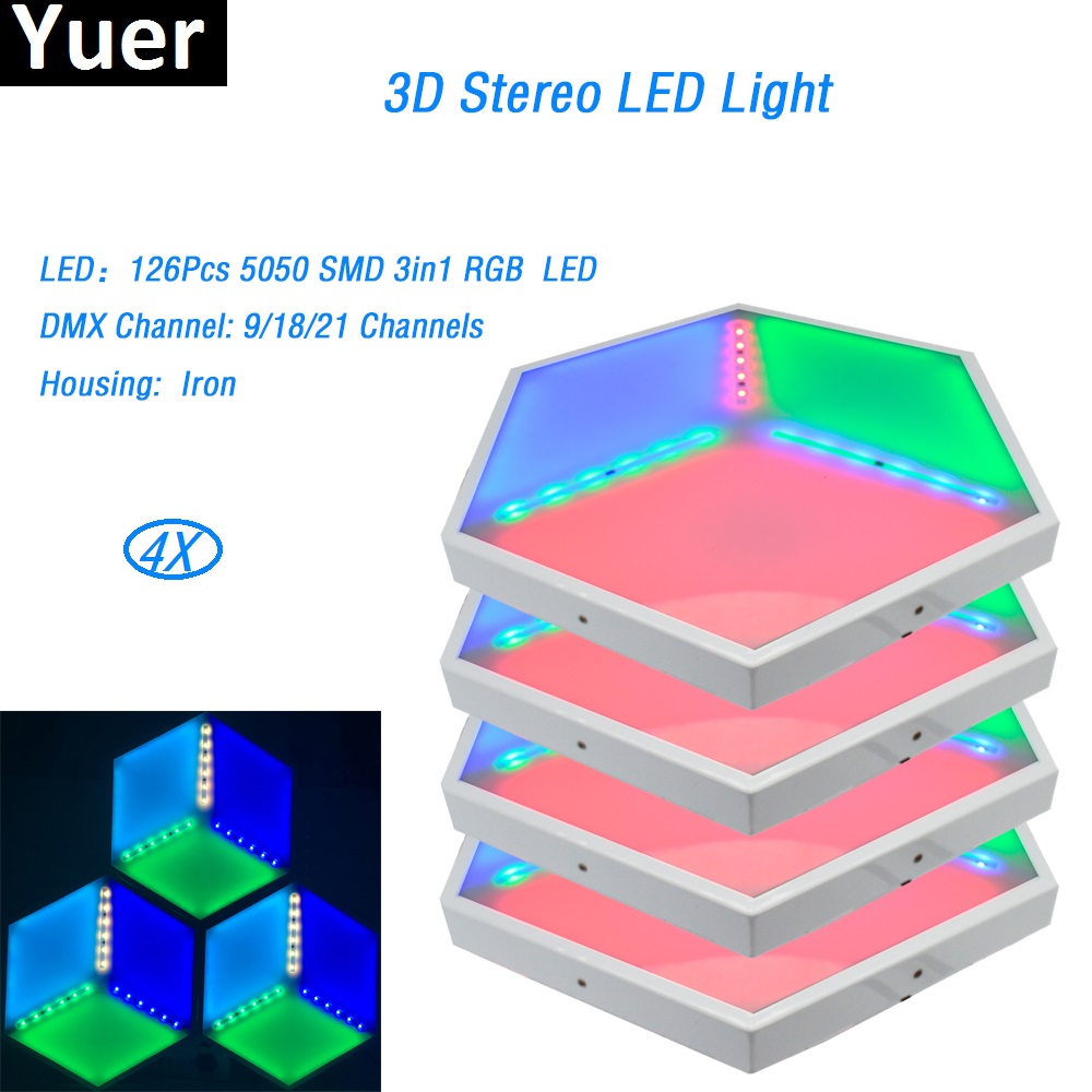4Pcs/Lot LED 3D Vision Panels ADJ Unique Design 126 Pcs 5050 SMD 3 in1 RGB dmx 35W Iron stage effect light for dj light disco 20pcs lot lm1085is adj