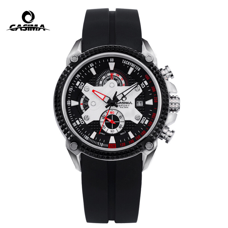 Men Watches Sport Fashion Luxury Elegance Quartz Watch Silicone Strap Multi-function Luminous Waterproof 100m CASIMA  #8207Men Watches Sport Fashion Luxury Elegance Quartz Watch Silicone Strap Multi-function Luminous Waterproof 100m CASIMA  #8207
