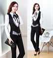 New Plus Size 2015 Spring Autumn Novelty Grey Office Work Wear Women's Suits With Pants Ladies Female Clothing Set Vest + Pants