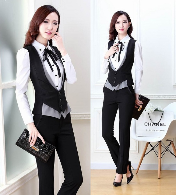 0b138810890a New Plus Size 2015 Spring Autumn Novelty Grey Office Work Wear Women's Suits  With Pants Ladies