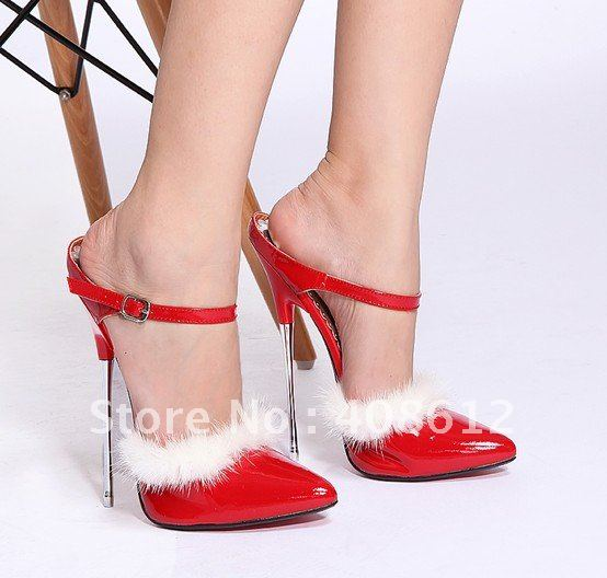 e599d71f4f06 Shoes feathers red high heel shoes patenl leather women shoes 16cm Thin  Heels sandals size 36-43